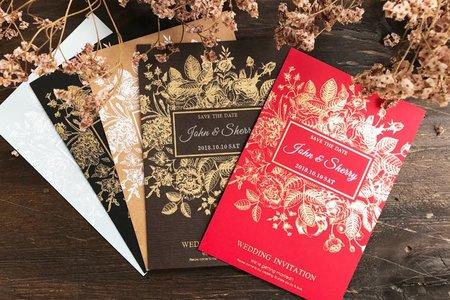 【厚卡喜帖】凡爾賽花園(紅)‧燙金喜帖‧婚卡