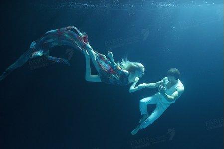 巴黎婚紗攝影《水紗舞》水底婚紗