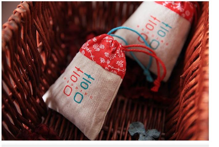 中式婚禮 喜糖棉麻拼接喜糖袋 婚禮小物作品