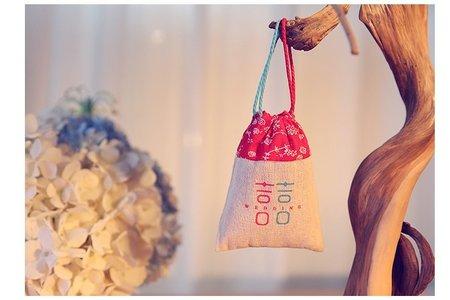 中式婚禮 喜糖棉麻拼接喜糖袋 婚禮小物