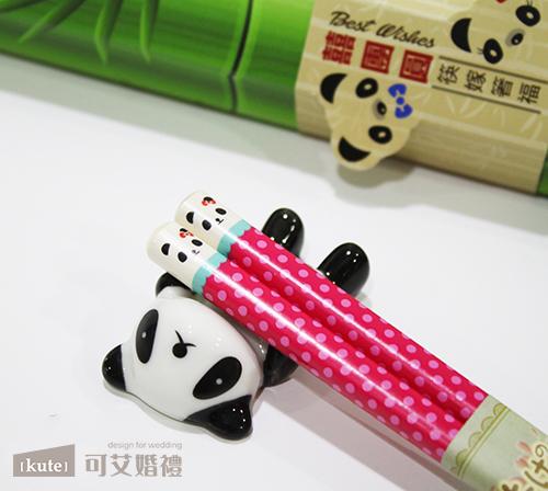 囍團圓熊貓筷架禮盒 $92