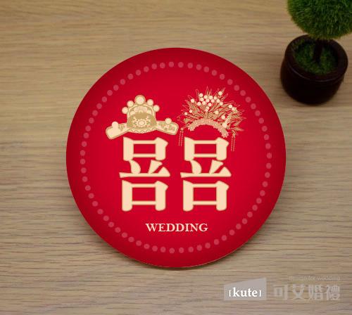 中式囍字 吸水杯墊