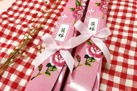 精緻喜筷花朵幸福兔筷架組合