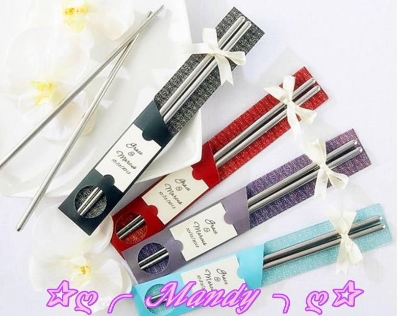 日式緞帶精緻款包裝鋼筷組(4色)