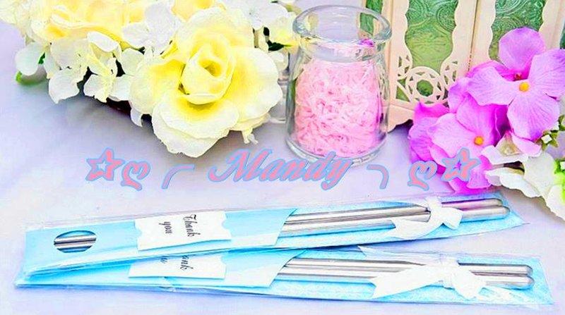 日式緞帶精緻款包裝鋼筷組(水藍色)