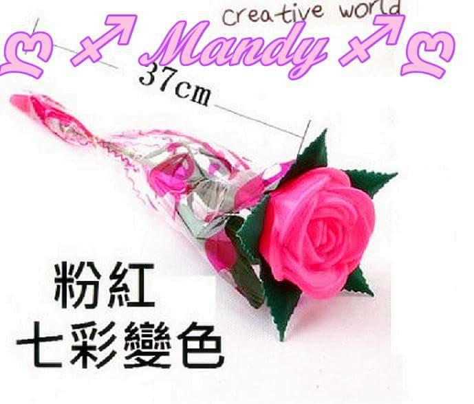 玫瑰花燈/LED粉紅色玫瑰花燈-帶枝葉