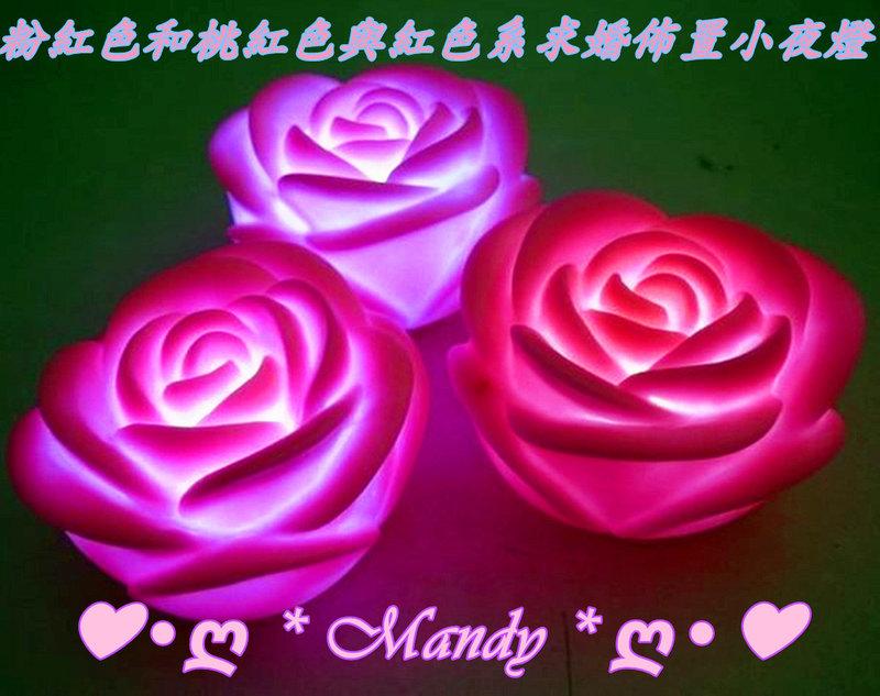 粉紅和桃紅與紅色系LED玫瑰花小夜燈