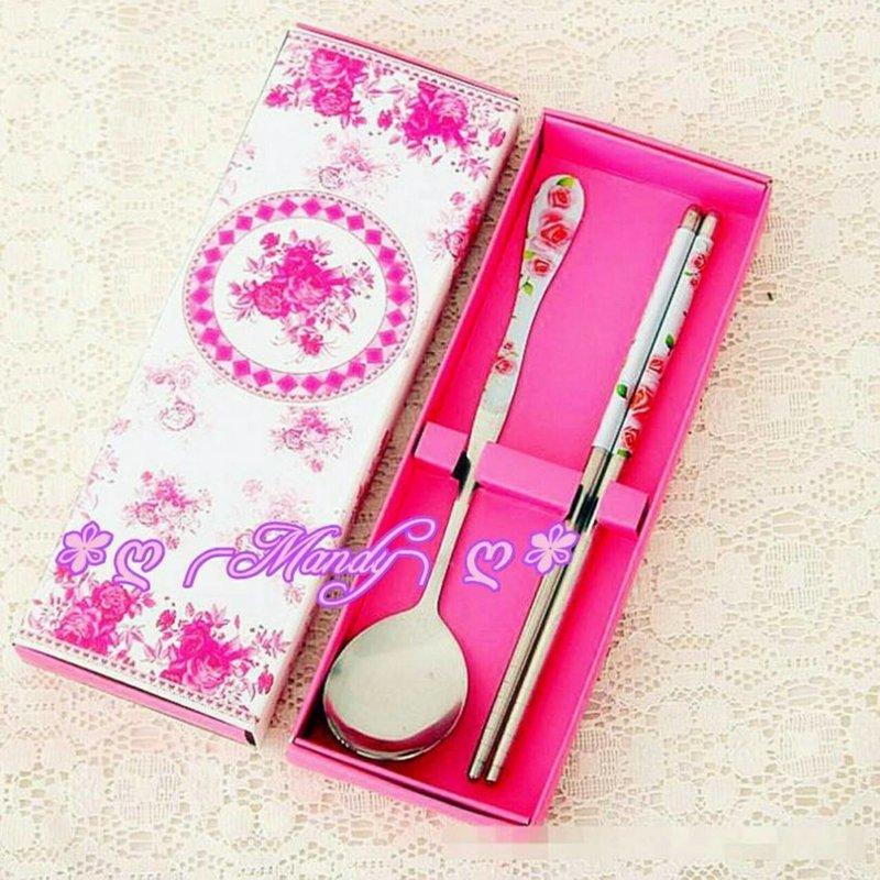 粉紅色玫瑰花餐具禮盒/二進禮/開學禮