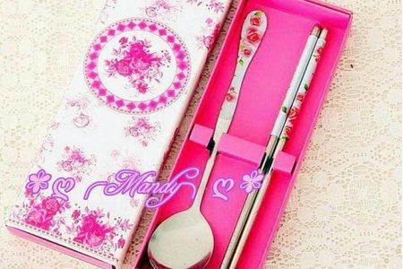 粉紅色玫瑰花餐具禮盒&紫色玫瑰花紋餐具組