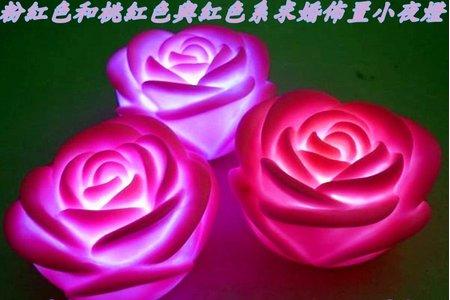 婚禮小物批發/七彩玫瑰花小夜燈/蠟燭燈