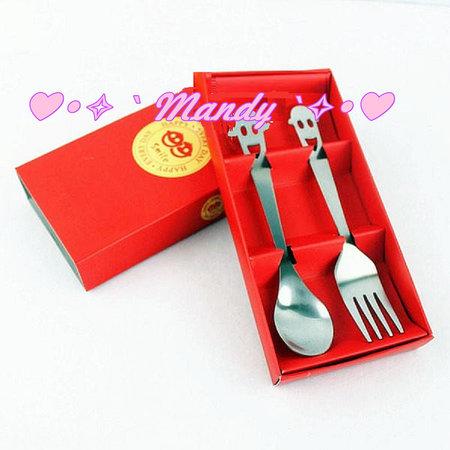 紅色微笑筷匙 湯匙 筷子 湯叉 叉子 湯