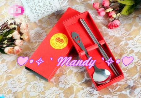 微笑紅色餐具組禮盒 活動贈禮 股東會禮