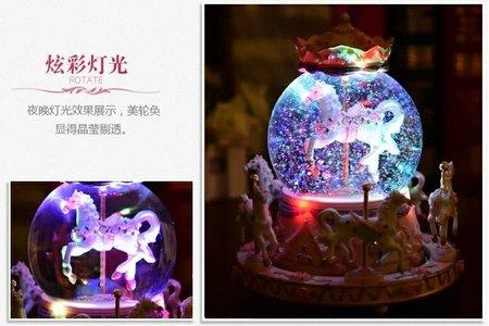 聖誕雪花繽紛旋轉木馬 音樂盒 浪漫聖誕禮