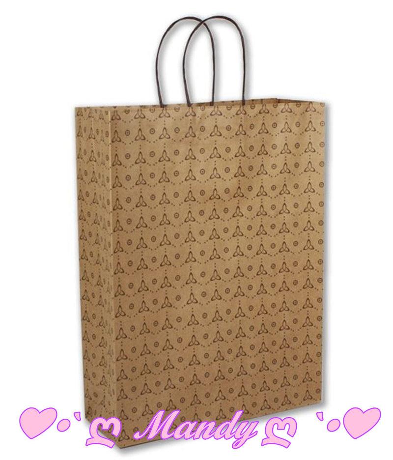 咖啡牛皮色印刷包裝袋 禮盒用提袋-大
