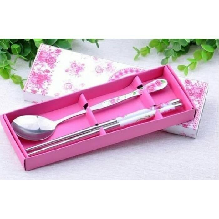 甜粉玫瑰兩件式餐具組 桌上禮 送客禮