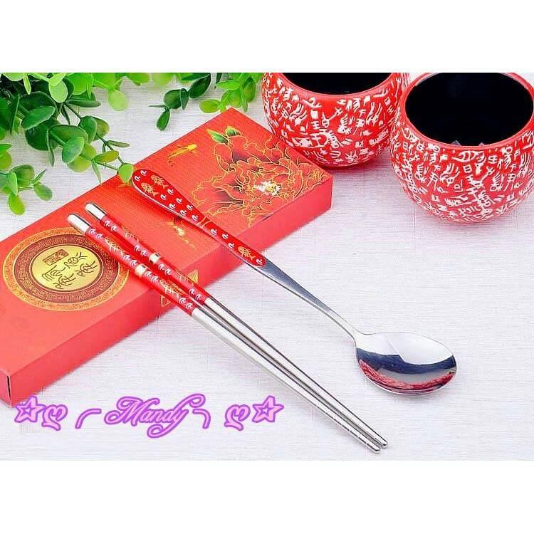 紅色合金貼磁兩件式餐具組 二進禮