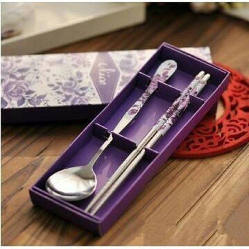 紫色玫瑰不銹鋼兩件式餐具組 股東會禮品