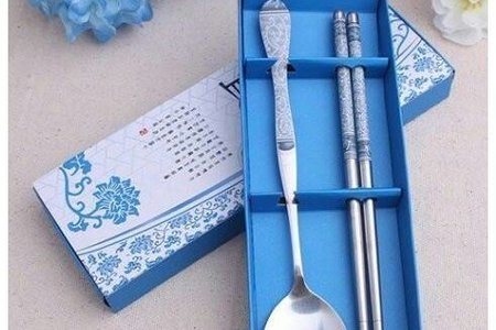 #青花瓷勺筷兩件套 #時尚創意不銹鋼餐具