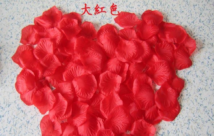 ? 絲布與絹布現貨仿真花瓣-大紅色