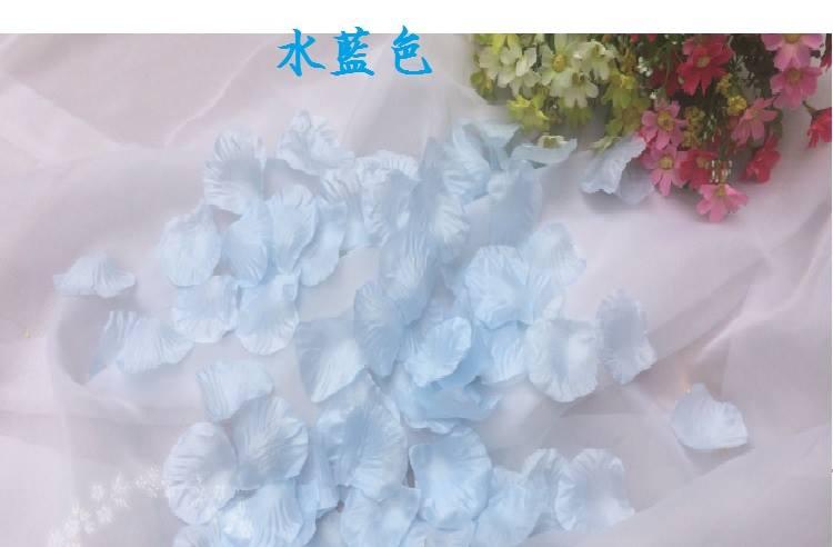 ? 絲布與絹布現貨仿真花瓣-水藍色