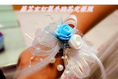 手做花球式雙色珠寶伴娘手腕花Swarovski-感謝會員委託設計與製作