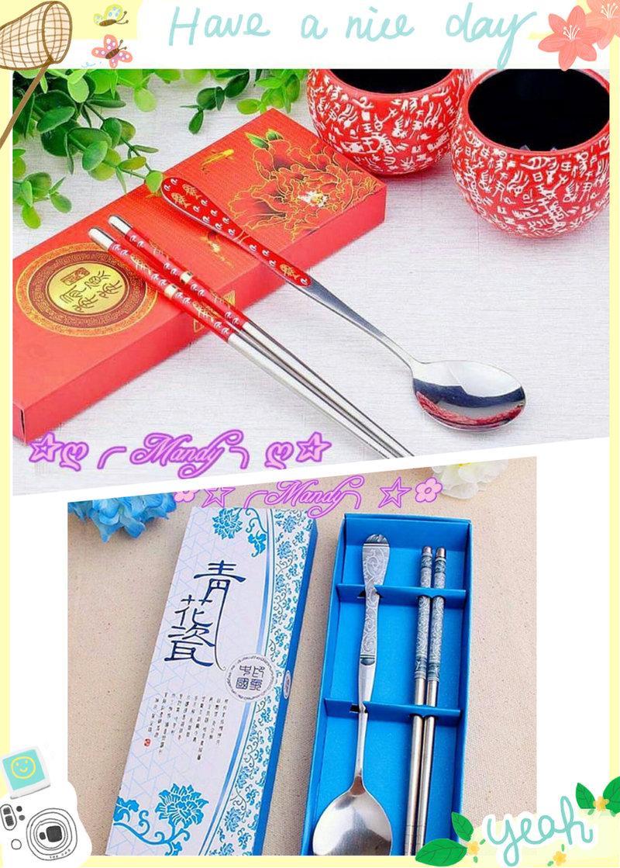 婚禮小物 創意餐具系列 紅色貼花筷勺套裝