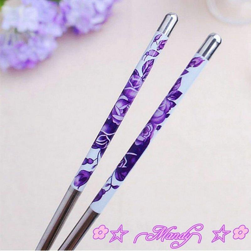 紫色玫瑰花紋貼瓷餐具筷子