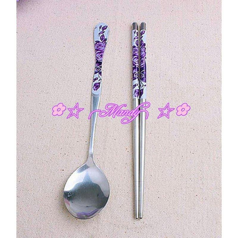 紫色玫瑰花紋貼瓷餐湯匙