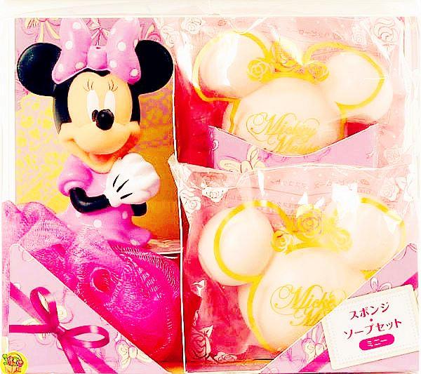 日本進口 迪士尼米妮公仔造型沐浴球香皂禮