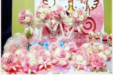 照片為 ღ全新推出-綻放的愛 - 紗網玫瑰捧花12件組ღ