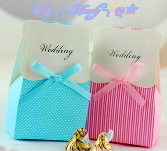 粉嫩清新蝴蝶結喜糖盒-粉藍點點&粉紅直紋
