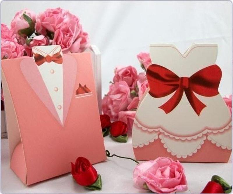 歐式粉色禮服喜糖盒
