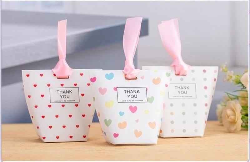 喜糖袋-創意喜糖盒-小白熊夫婦-愛心圓點