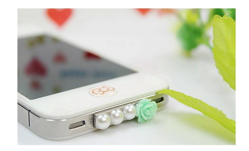 玫瑰花加排珠手機防塵塞 不挑色