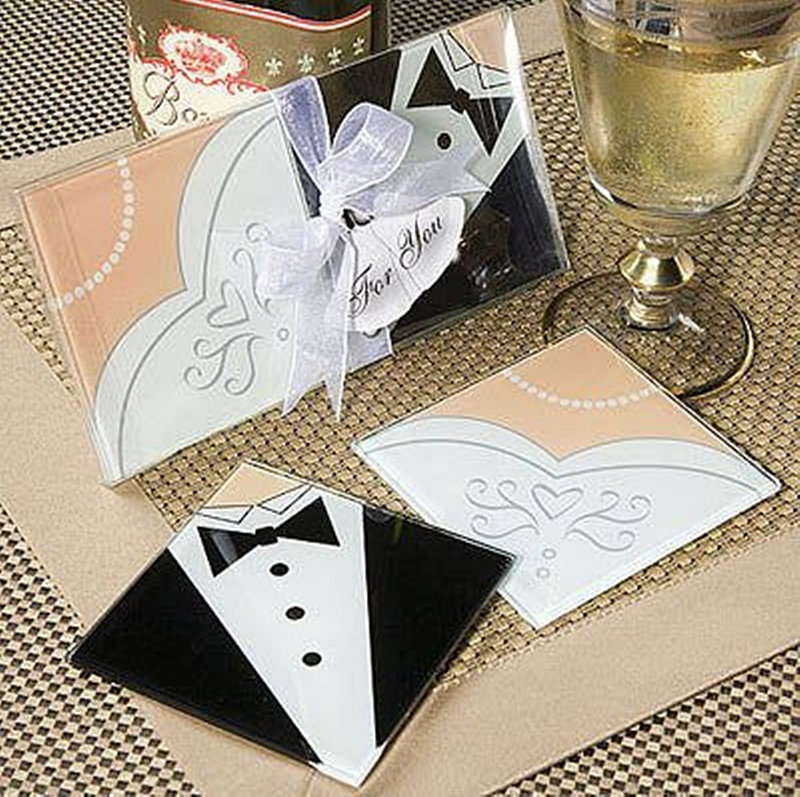 水晶玻璃相片杯墊組(兩片裝) 新郎新娘