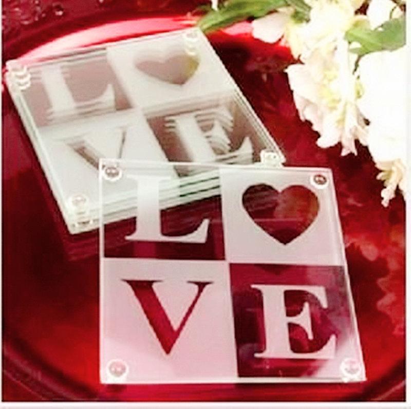 歐美小物/婚禮小物/LOVE玻璃杯墊組