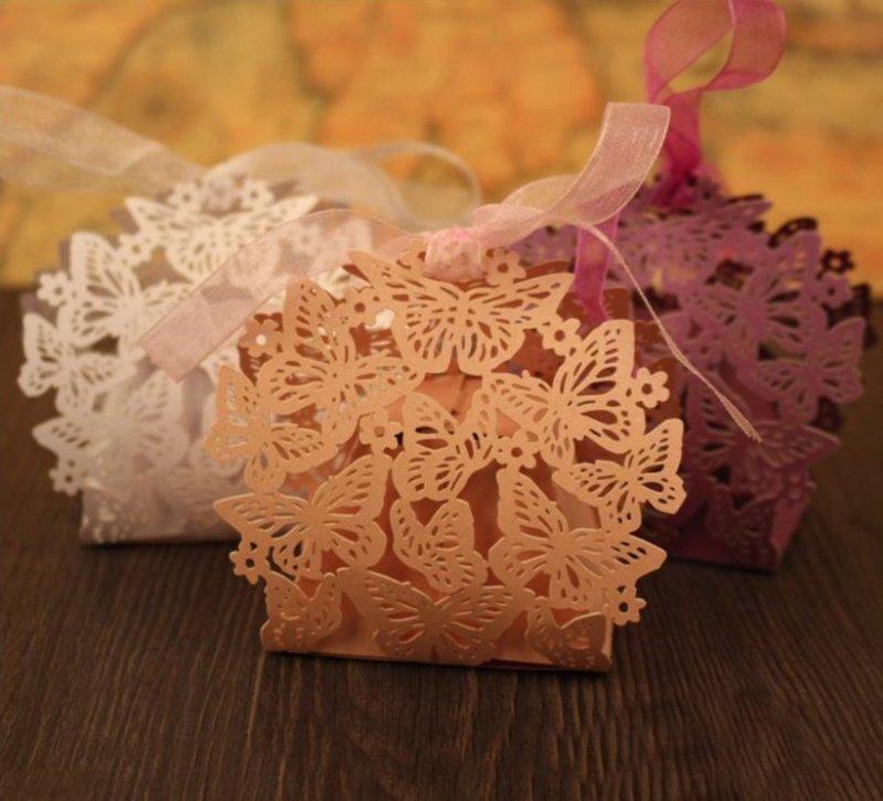 人氣歐式裸空激光多蝴蝶 喜糖盒 浪漫激光