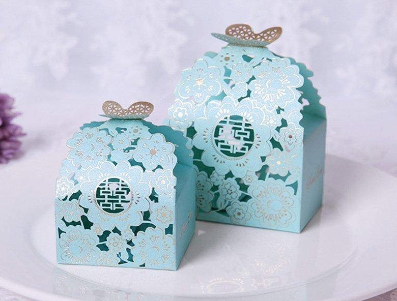 燙金蝴蝶花喜糖盒 浪漫蝶戀花 喜糖盒 包