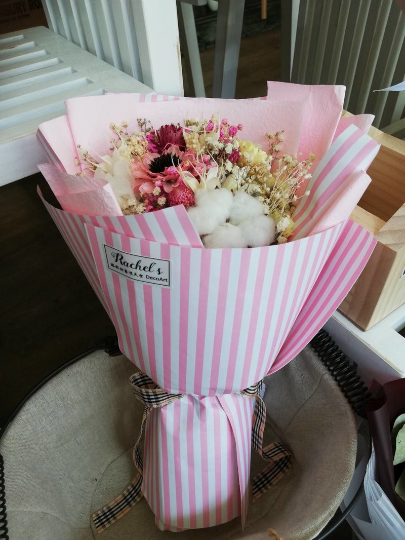 粉色手工花、棉花、麥桿菊、不凋繡球、不凋
