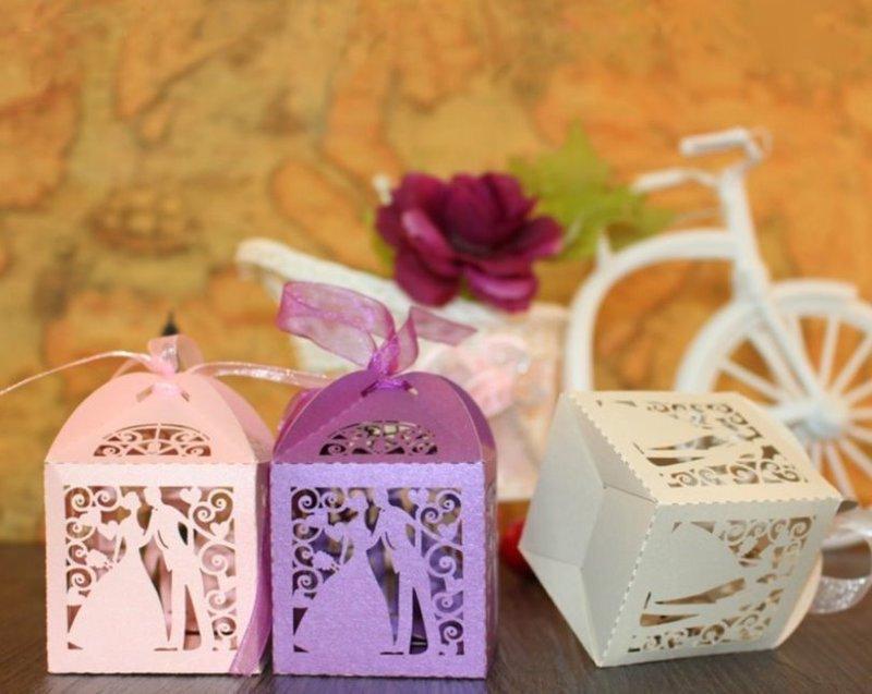 浪漫激光簍新娘新郎 歐美喜糖盒 婚禮包裝
