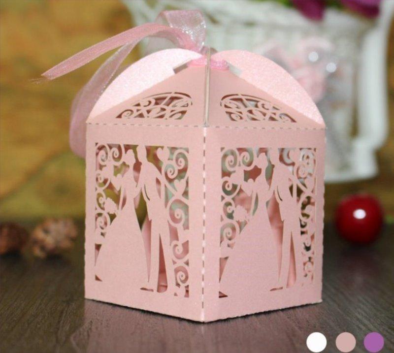 甜美西式裸空激光新郎新娘喜糖盒 糖果紙盒