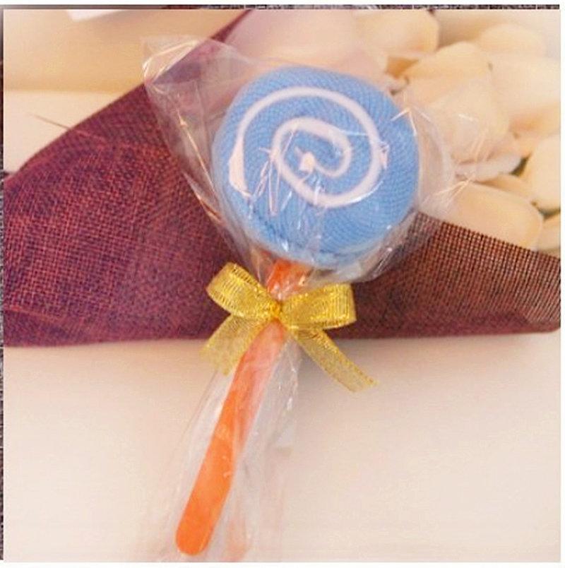 袋裝淺藍色=棒棒糖毛巾 造型毛巾 糖果毛