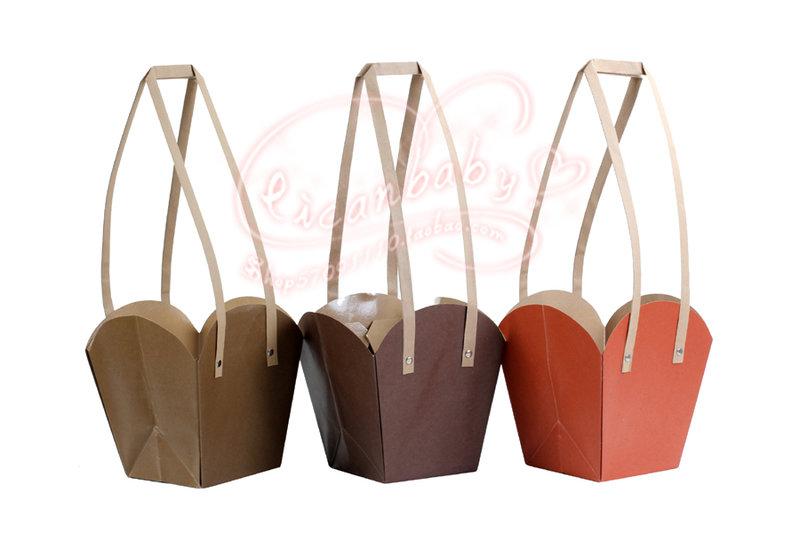 牛皮紙禮品袋 小捧花束裝置手拎袋作品