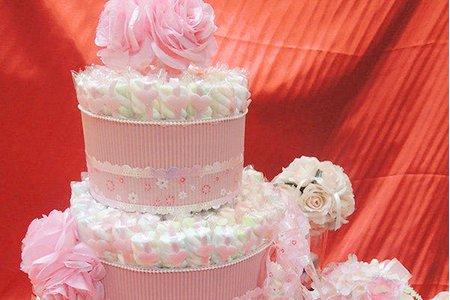 摯愛棉花糖蛋糕塔(粉色、紫色) 花捲棉花
