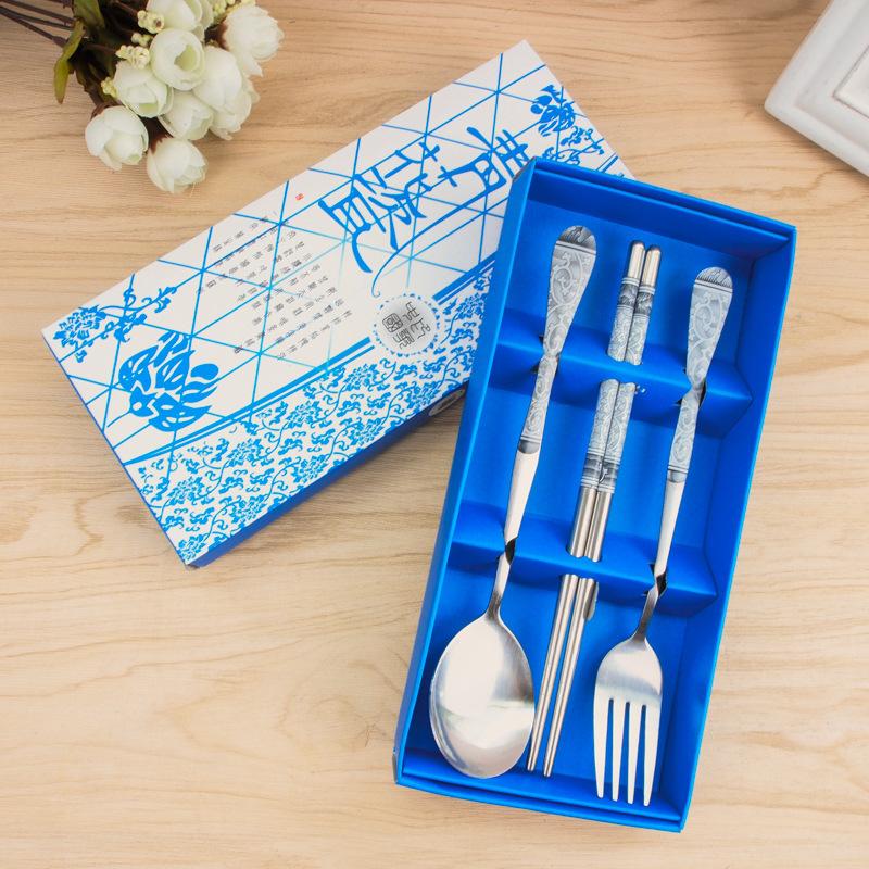 青花瓷 中國風禮盒餐具3件組不鏽鋼三件組