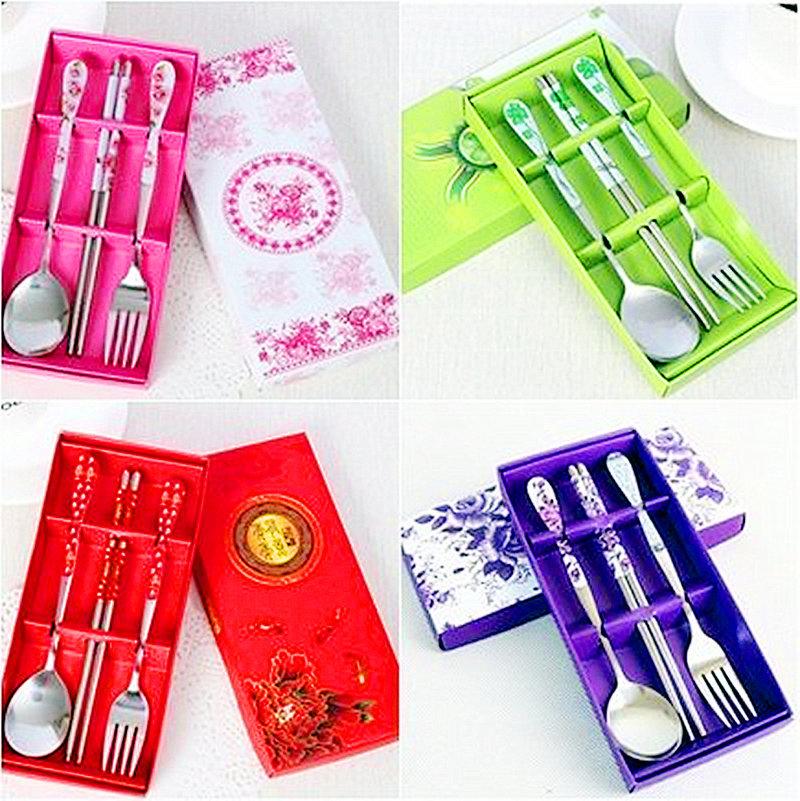 青花瓷三件式餐具組共4色
