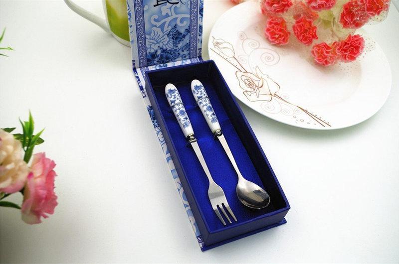 青花瓷高級餐具兩件式組-湯叉