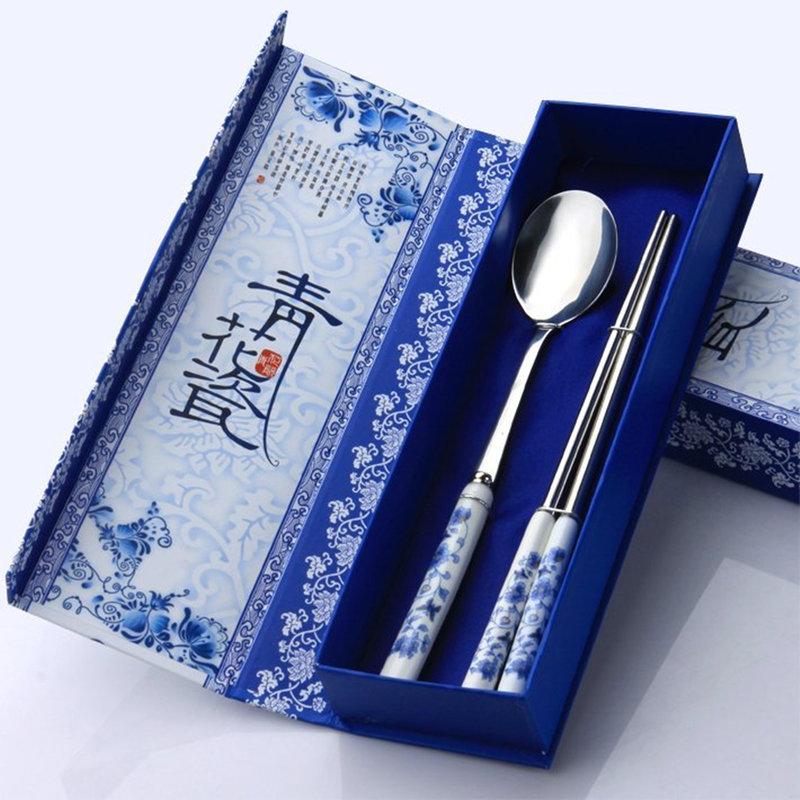 青花瓷高級餐具兩件式組-湯筷組