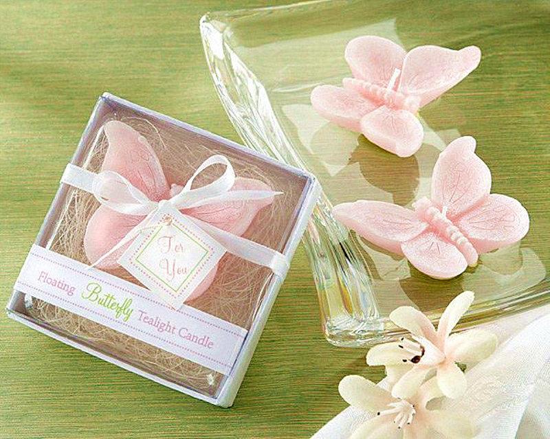 婚禮小物-粉色蝴蝶蠟燭