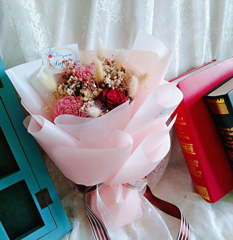 粉紅色的圓滿-乾燥花束